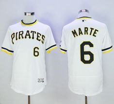 d9b4ddc15 Pirates  6 Starling Marte White Flexbase Authentic Collection Cooperstown  Stitched MLB Jersey