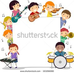Illustration of Kids Holding Musical Instruments Surrounding a Blank Board - stock vector Musical Instruments Clipart, Musical Instruments Drawing, Music Activities, Kindergarten Activities, Music Border, Music Clipart, Cartoon Faces, Christmas Drawing, Music For Kids