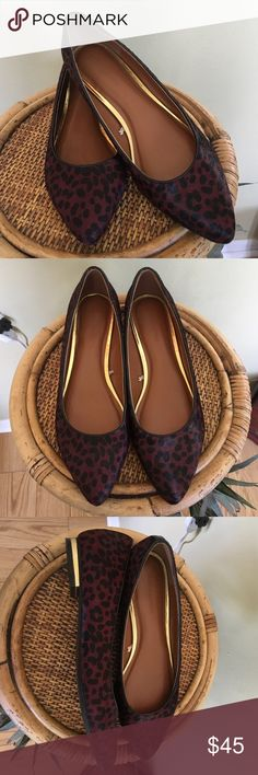 BANANA REPUBLIC CALF HAIR FLATS Brand new without tags or box.  Super cute cranberry and black calf hair flats.  What a great shoe for the fall.  Leather/ calf hair upper, man made sole.  TRADESLOWBALL Banana Republic Shoes Flats & Loafers