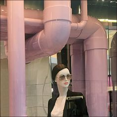 I am sure these Dior® Pink PVK pipe constructs were a creation nightmare for the Window Dressing Staff. But they are perfect for the many admires of the tightly focused PVC outfitting thread here o… Pipe Dream, Window Dressings, Visual Merchandising, Christian Dior, Retail, Windows, Pink, Color, Window Treatments