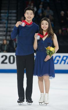 Alex Shibutani and Maia Shibutani of USA first place winners in the ice dance free dance at 2016 Progressive Skate America at Sears Centre Arena on October 23, 2016 in Chicago, Illinois.