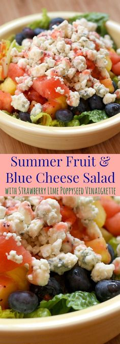 Summer Fruit and Blue Cheese Salad with Strawberry Lime Poppy Seed Vinaigrette - a summer salad with a perfect sweet and savory combo for a light lunch or meatless dinner.   http://cupcakesandkalechips.com   gluten free, vegetarian