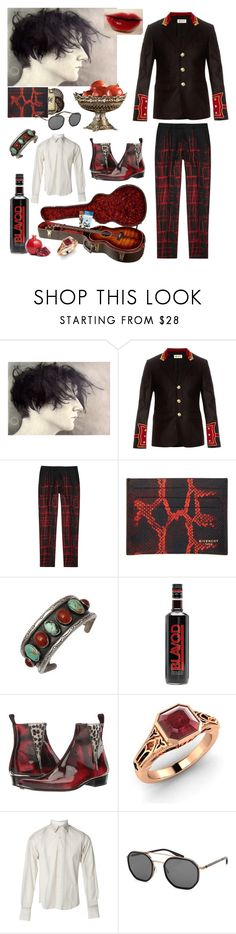 """""""Pomegranate stained"""" by rewolf71 ❤ liked on Polyvore featuring Yves Saint Laurent, Christian Dior, Givenchy, Jeffery-West, Diamondere, Marni, Barton Perreira, men's fashion, menswear and blackandred"""