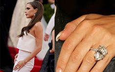 Victoria Beckham's engagement rings: her most famous piece is this 17 carat pear-shaped diamond ring