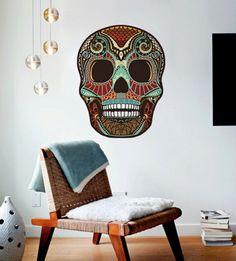 etsy Sugar Skull Wall Decal