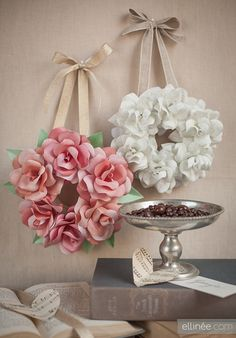 So beautiful ~ Template - DIY Mini Paper Rose Wreath by Lia Griffith- Ellinee ~