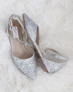 eed030c9cb2 SILVER Rock Glitter Ankle Strap Flats. Silver Bridesmaid ShoesSilver Wedding  ...
