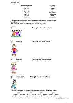 39 best atividades images on pinterest languages spanish class verbo to be fandeluxe Choice Image