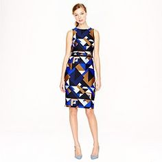 Collection wool-silk dress in Cubist print