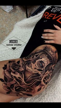 Thigh/Hip tattoo - i like the placement. i need this, with a good soul wrenching quote! Chicano Tattoos Sleeve, Arm Sleeve Tattoos, Spine Tattoos, Dope Tattoos, Badass Tattoos, Pretty Tattoos, Body Art Tattoos, Hip Thigh Tattoos, Full Leg Tattoos