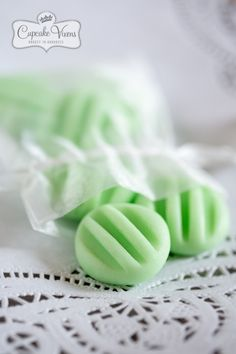 Cream Cheese Mints, just like my Grandma made. I used her silicone molds, rolled each ball in plain white sugar, pressed in mold, plopped them out.