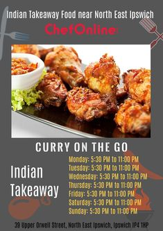 Curry On The Go offers delicious Indian Food in North East Ipswich, Ipswich Browse takeaway menu and place your order with ChefOnline. Order Takeaway, Ipswich Suffolk, Indian Food Recipes, Ethnic Recipes, Food Online, Tandoori Chicken, Curry, Menu, Delivery