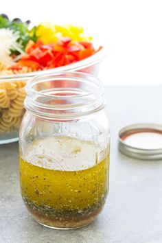 Easy Italian Dressing Recipe - So much better than store-bought! - Zesty, fresh and flavorful homemade Italian Dressing Recipe! This healthy Italian salad dressing is - Italian Dressing Recipes, Homemade Italian Dressing, Salad Dressing Recipes, Simple Dressing Recipe, Italian Vinaigrette Dressing Recipe, Dressing For Pasta Salad, Italian Salad Dressings, Homemade Healthy Salad Dressing, Italian Dressing Chicken Marinade