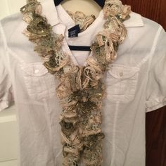 Hand Knitted Cream Gold & Gray Ruffle Scarf Hand knitted cream, Gold & gray ruffle scarf. Accessories Scarves & Wraps
