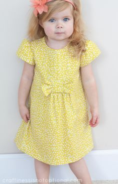craftiness is not optional: Charlotte's Easter dress-yellow with a side of bow