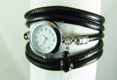 Wrap watch leather black metallic - wrist watch - women's watch - layered watch