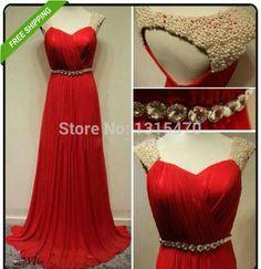 201 5 frete grátis Até O Chão Vestido de Uma Linha de Pérolas Frisado Chiffon Vermelho Vestido de Noite Vestido de baile vestido de formatura