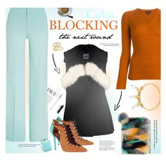 """""""color blocking: mint blue and orange brown"""" by ssennii ❤ liked on Polyvore featuring rag & bone, BaubleBar, ESCADA, By Sun, Malone Souliers, Tiffany & Co., Jennifer Fisher, women's clothing, women and female"""