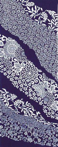 PRAIRIEDOG WAFUKA Tenugui Flowing Flower Pattern Popular Colors, My Favorite Color, Things To Buy, Flower Patterns, Blue And White, Japanese, Traditional, Towel, Block Prints