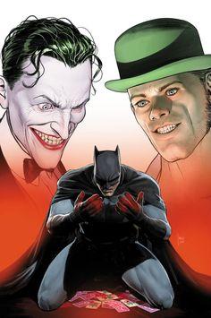 Batman caught between The Joker & The Riddler Joker Batman, Joker Art, Batman Art, Batman Robin, Dc Comics, Batman Comics, Cosmic Comics, Justice League, Star Trek