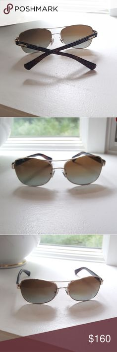 f5498ba7b Coach polarized sunglasses nowt Coach Sunglasses gold metal front w brown  plastic sides. Brown gradient