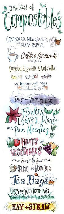 Compost Compatibles - Cute lettered guide to what can be composted. Great for a reminder taped to the indoor bin.