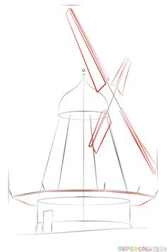 how to draw a windmill step by step drawing tutorials for kids and beginners