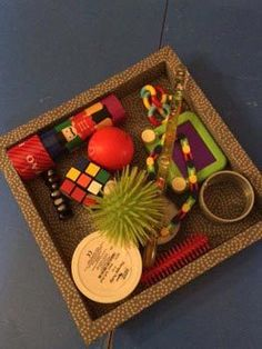 place a basket of fidget toys on the table