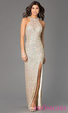High Neck Floor Length Sequin Dress by Primavera at PromGirl.com