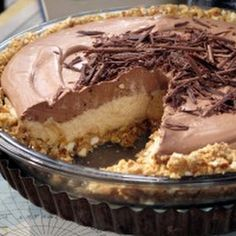No-Bake Cream Cheese Peanut Butter Pie with Chocolate Whipped Cream