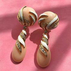 @davidwebbjewels. Angel skin coral, diamond, and enamel earrings by @davidwebbjewels
