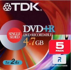 TDK DVD+R 4.7GB Write Speed 16X (5-Pack) by TDK. $5.85. From the Manufacturer                 TDK 2.4x DVD+R discs write-once recordable DVD discs that offer extremely high storage capacity -- up to 4.7 GB. Once recorded, DVD+R discs can be played back in all compatible DVD-ROM drives and DVD-Video players.   TDK DVD+R discs incorporate a number of key technologies that make them compatible with the widest range of DVD drives and players. TDK DVD+R discs let you organize...