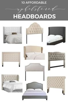 Shopping ideas to help you find stylish upholstered headboards that fit into your budget and work with your home decor | Modern headboards including tufted headboards, fabric headboard, wingback headboard, padded headboard | #Designthusiasm