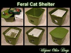 With my work in Rescue, I often get helpful ideas from other rescue organizations. This is a quick and easy solution to construct a winter shelter for outdoor cats or feral cats in the neighborhoo… Feral Cat Shelter, Feral Cat House, Feral Cats, Winter Cat Shelter, Outside Cat House, Outside Cat Shelter, Insulated Cat House, Kitten Care, Outdoor Cats