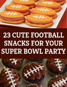 The Super Bowl XLIX is quickly approaching. Here are some unique football themed snacks to make for your super bowl party! Football Treats, Football Party Foods, Football Food, Football Birthday, Football Cupcakes, Football Tailgate, Soccer Snacks, Football Desserts, Football Recipes