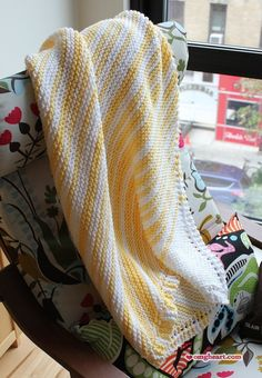 Knit Diagonal Stripe Baby Blanket