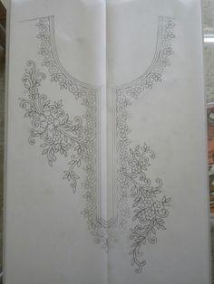 Kurti design Mumta z khan Hand Embroidery Videos, Hand Work Embroidery, Silk Ribbon Embroidery, Hand Embroidery Patterns, Beaded Embroidery, Machine Embroidery Designs, Embroidery Stitches, Saree Painting Designs, Fabric Paint Designs