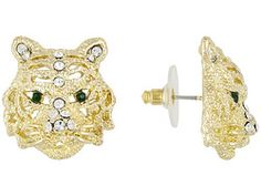 Off Park Collection (Tm) Gold Tone, Round Green And White Crystal Tiger Head Earrings