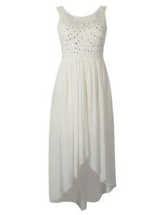 White Sleeveless High Low Bead Long Dress | Choies