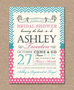 Bridal Shower Invitation ~ Vintage Banner ~ Aqua & Pink