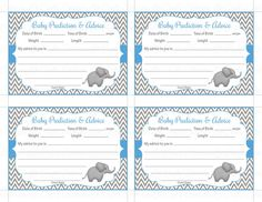 Baby Shower Prediction and Advice Cards Mommy Printable Baby
