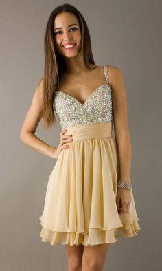 Glittery A-line Straps Chiffon Homing Dress Hd0538