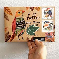 Birds flying high, you know how I feel . Mail Art Envelopes, Art Postal, Decorated Envelopes, Envelope Art, Letter Art, Letters, Letter Writing, Paper Hearts, Snail Mail