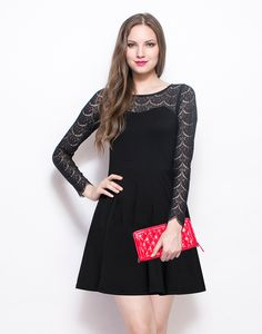 Get Laced Skater Dress - Black : Raise your style bar with this ultra feminine black jersey dress that features eyelash lace sleeves and yoke and a back zip closure with an eyelet detailing. Skater style skirt.  Work It - Looks sweet with a color pop clutch and strappy heels.