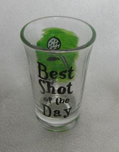 Golf fans will just love this clever gift, perfect shot for the day's when there just isn't a good shot on the green.  This hand painted shot glass is 1.5 oz. and makes a great gift for golf lovers. #theWoodlandRoseGarden #ShotGlass