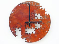 Puzzle Wall Clock V Rusted by All15Designs on Etsy