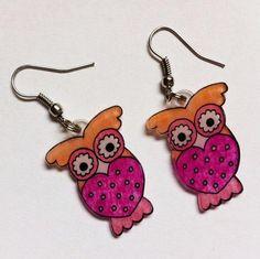 Shrink plastic owl earring