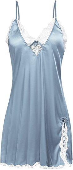 cde64c164ac7e Ekouaer Women s Satin Lace Chemise Silky Nightgown Plus Size