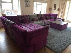 Fabric covered flexible modular seating for a very large family room.