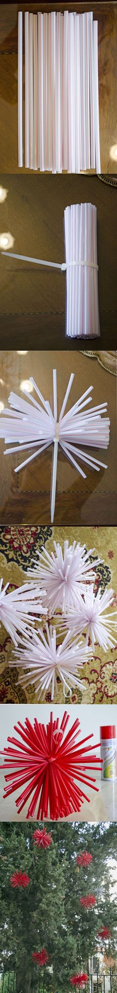 DIY Christmas Decorations... using plastic straws